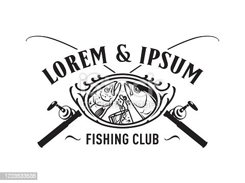 Fishing and drinking themes for fisherman club or bar implemented in vector badge with fishing rods, fishes and glass with cold whiskey or other beverage