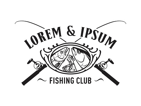 Fishing club emblem concept with fishes, drink and rods - cut out vector badge