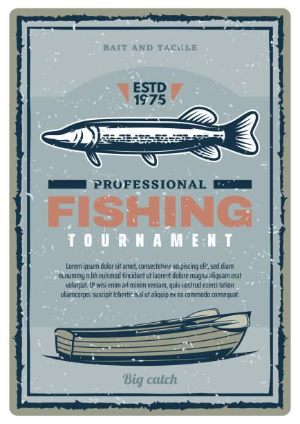 fishing club turnier retro-banner mit fisch - seehecht stock-grafiken, -clipart, -cartoons und -symbole