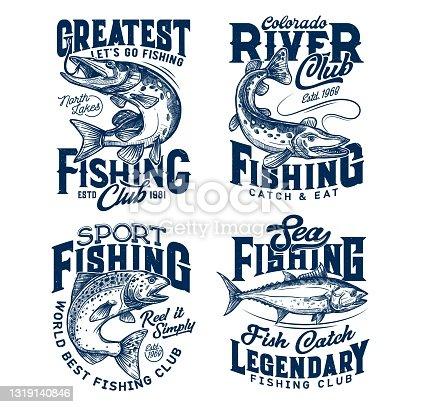 Fishing club t-shirt prints, sea fish on rod hook