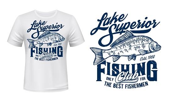 Fishing club t-shirt vector print mockup with carp