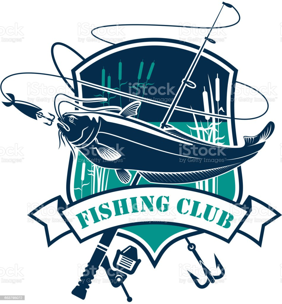 Fishing club vector icon with fish catch vector art illustration