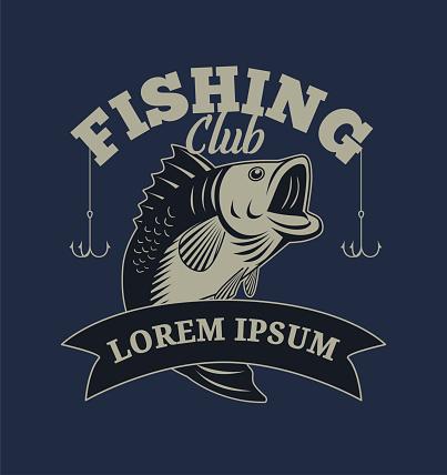Fishing Club with Bass Fish Illustration