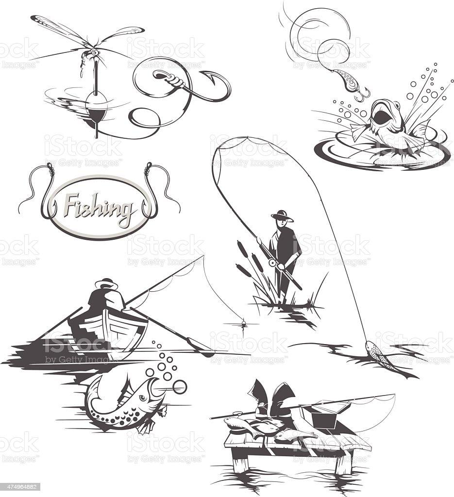 Fishing collection vector art illustration