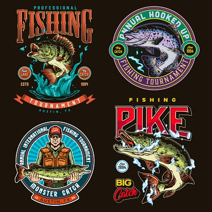Fishing colorful vintage labels