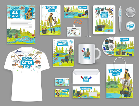 Fishing corporate branding mockup templates