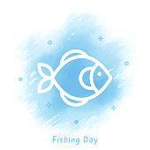 Vector fish line icon over watercolor background.
