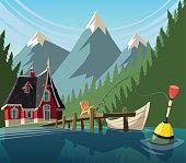 Fishing day on mountain lake