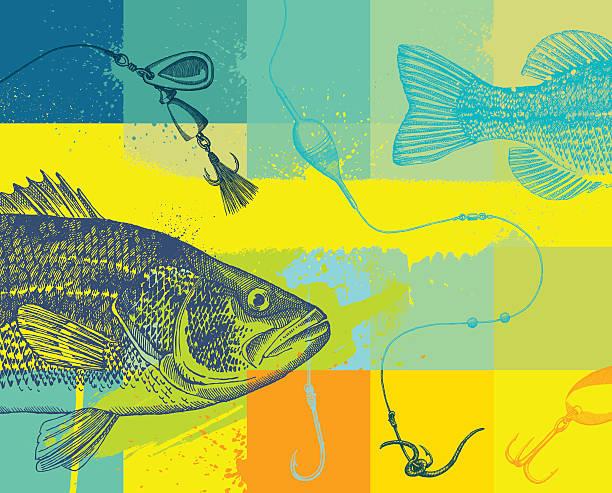sieć grunge projektowania - rybactwo stock illustrations