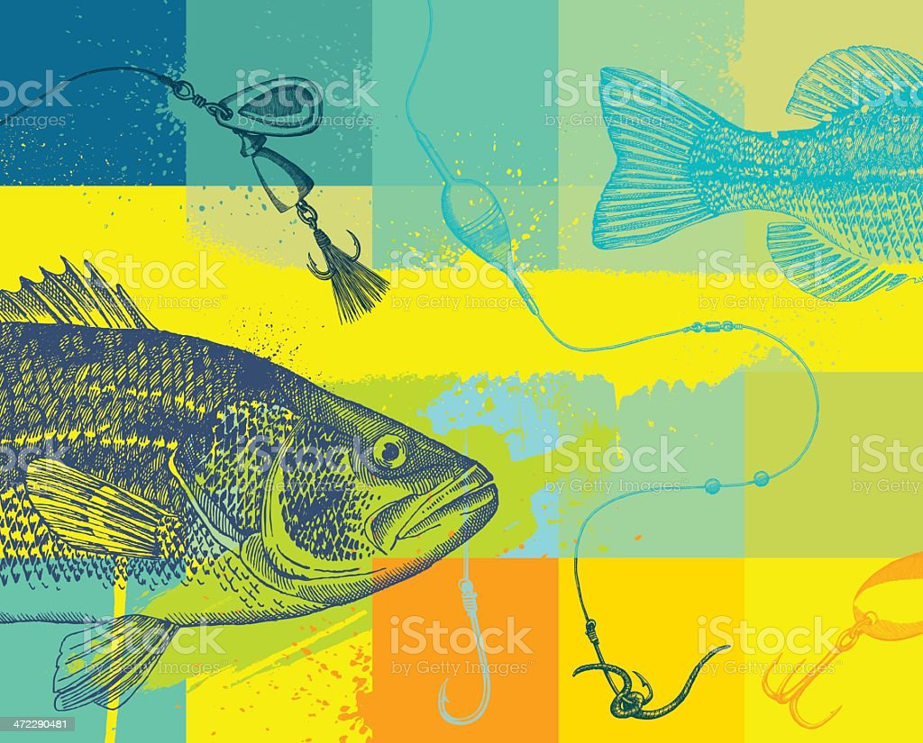 Fishing design with line, fly and fish vector art illustration