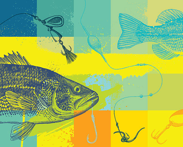 fishing design with line, fly and fish - fishing stock illustrations