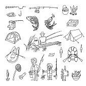 Fishing Doodle Set. Vector illustration.