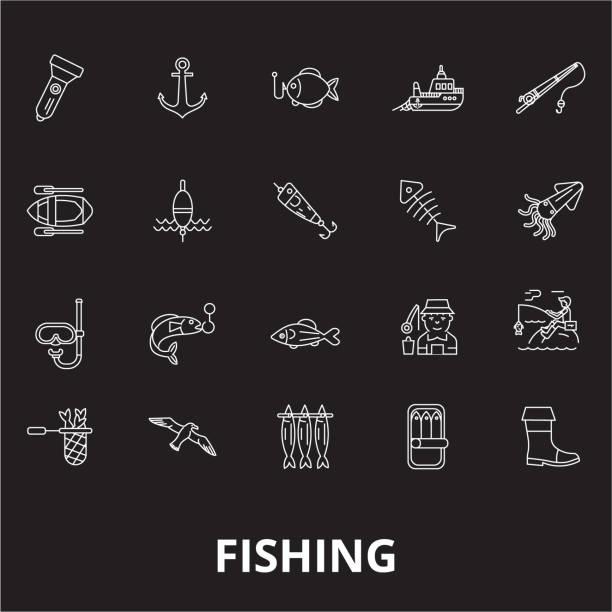 Fishing editable line icons vector set on black background. Fishing white outline illustrations, signs, symbols vector art illustration