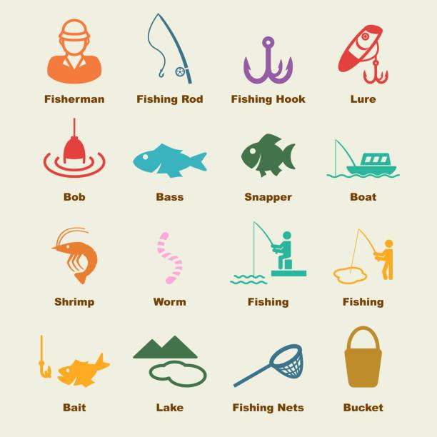fishing elements vector art illustration