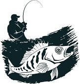 Fishing emblem. Man catches a fish. PNG file black colour (3061x3194? 300 dpi) is also included.