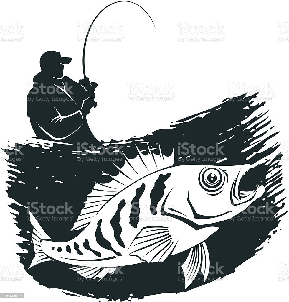 Fishing emblem vector art illustration