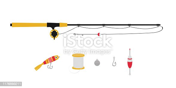 Fishing equipment flat vector illustrations set. Angling lure, bait, hook and bobber. Fisher tackle isolated cliparts pack on white background. Angler gear cartoon design elements collection