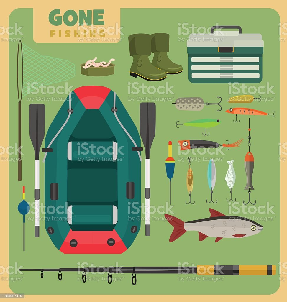 Fishing equipment set vector art illustration