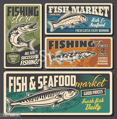 Fish and seafood market, fishing equipment and lures store. Fisher club tours, rods and tackles rental for river pike, ocean mackerel and carp. Vector vintage retro posters