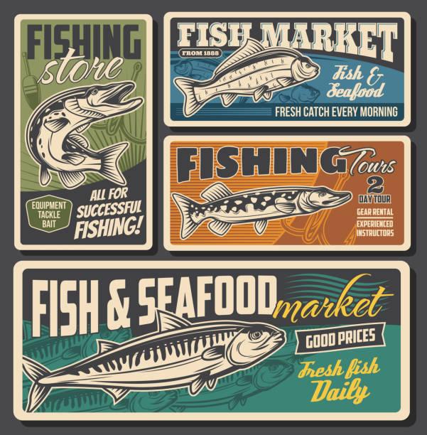 sklep ze sprzętem rybackim, targ owoców morza i ryb - rybactwo stock illustrations