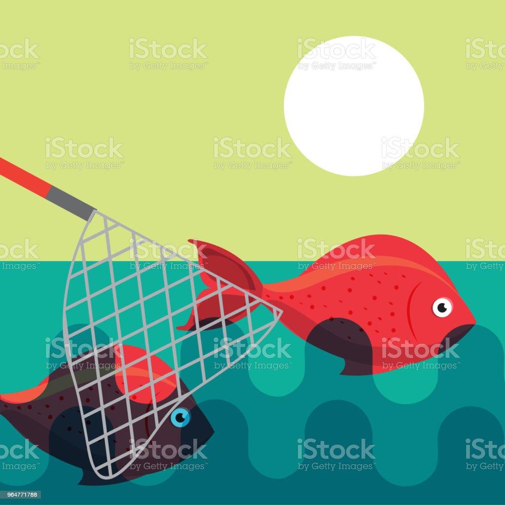 fishing fish cartoon royalty-free fishing fish cartoon stock illustration - download image now