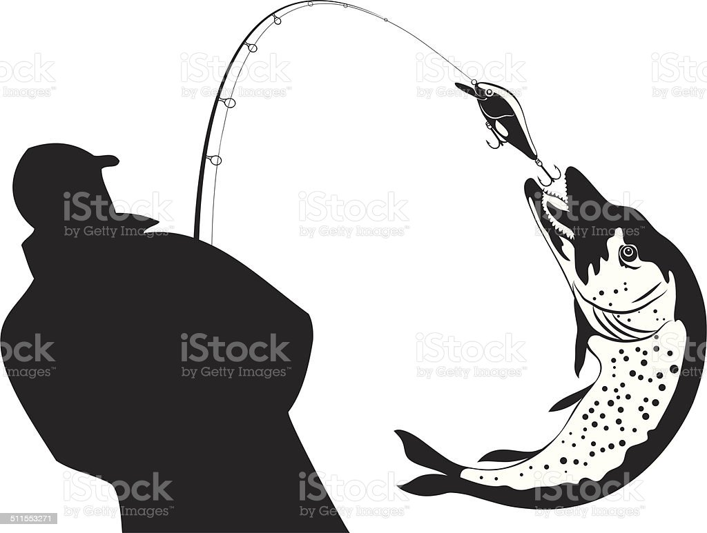 Fishing, fisherman and pike, vector illustration vector art illustration