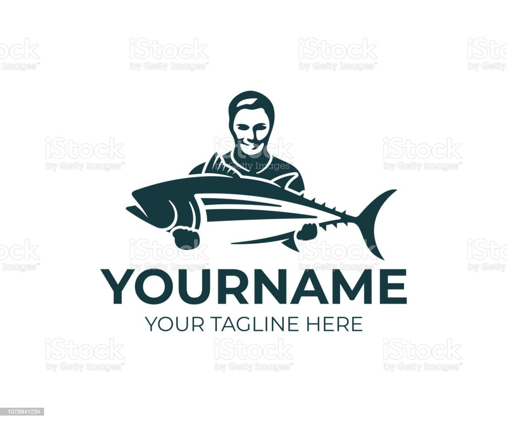 Fishing, fisherman holds tuna fish, design. Fishing sport club and angler, nature, animal and underwater life, vector design and illustration vector art illustration