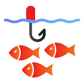 Fishing flat icon. Fish in water color icons in trendy flat style. Fish and hook gradient style design, designed for web and app. Eps 10