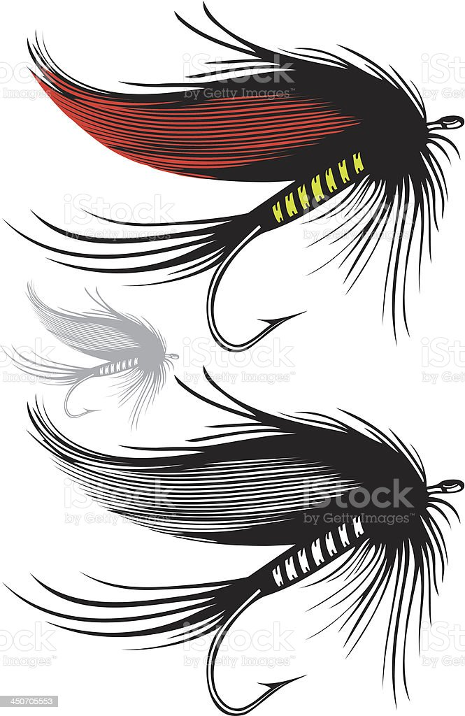 Fishing fly on transparent background vector art illustration