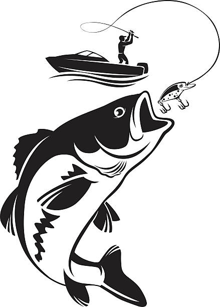 Largemouth Bass Jumping Out Of Water Outline