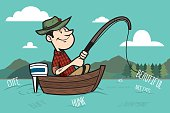 This is a vector illustration based on the saying 'Fishing for Compliments'.