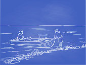 Two people sharing a fishing boat