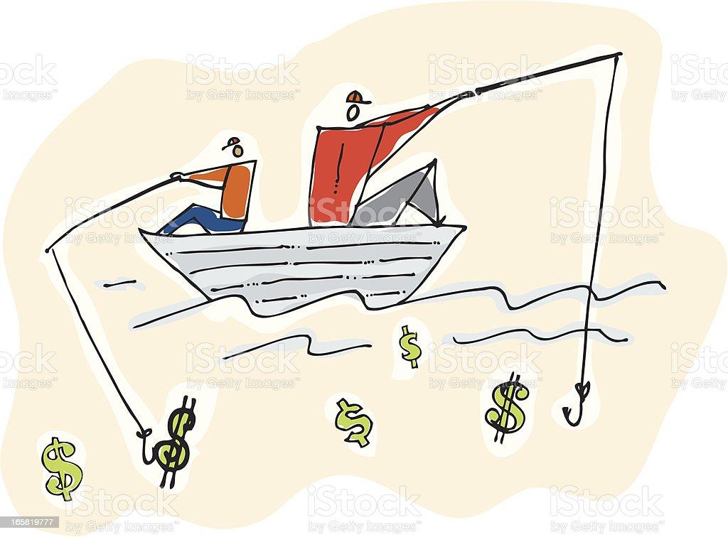 Angeln für Geld – Vektorgrafik