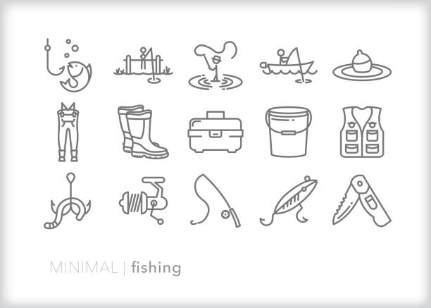 fishing for recreation or sport line icons - pond stock illustrations