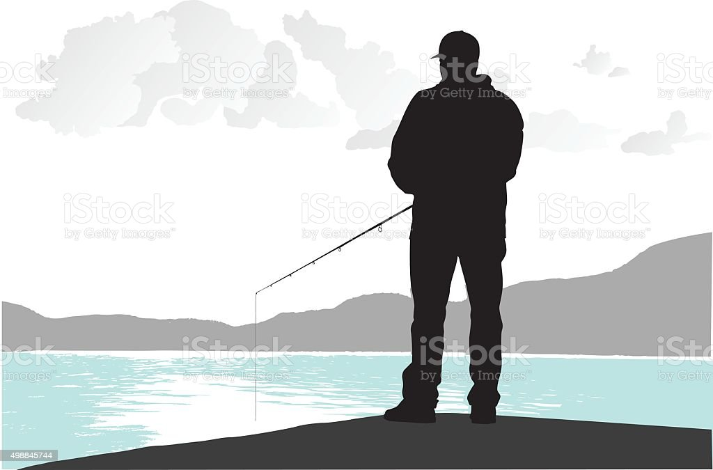 Fishing From The Dock vector art illustration