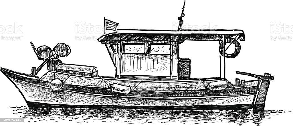 Ilustración De Barco De Pesca Griega Y Más Vectores Libres De