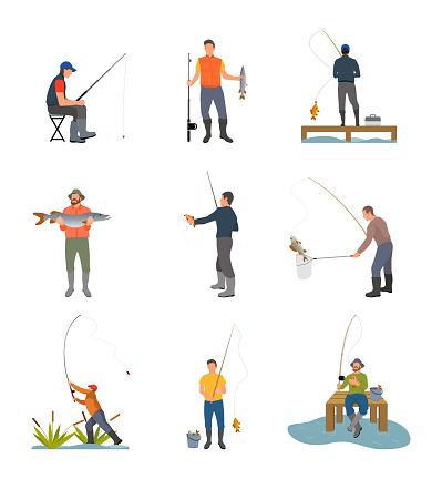 Fishing Hobby Activity Set Vector Illustration