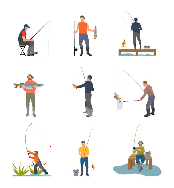 Fishing Hobby Activity Set Vector Illustration Fishing hobby activity. Catching fish by lake on wooden pier. Spinning hold by men sitting on stool, fishery sport set isolated on vector illustration fishing stock illustrations