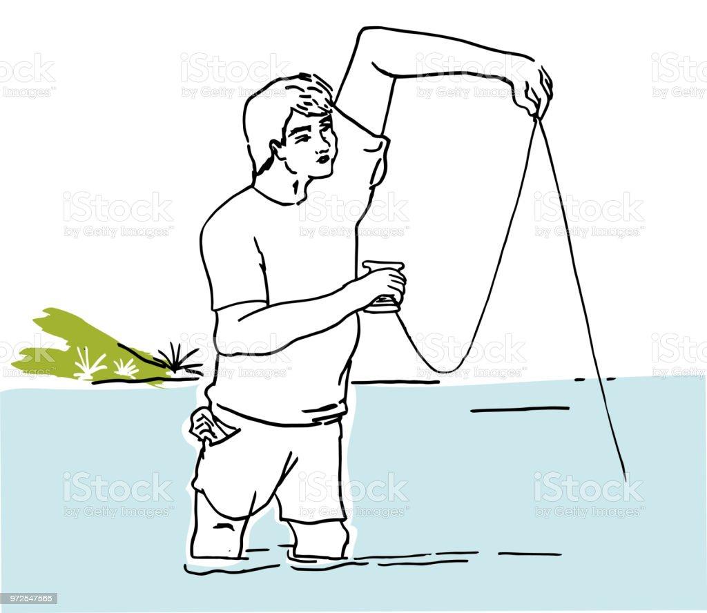 Balık tutma hobi. vektör sanat illüstrasyonu