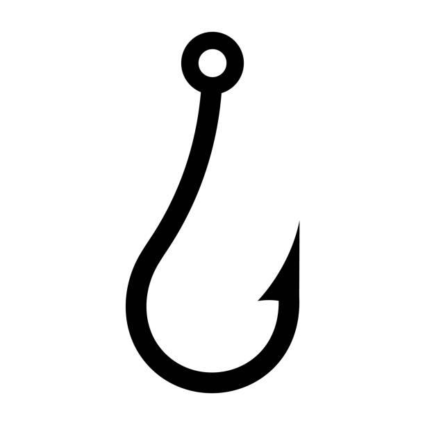 fischerei-haken-symbol, silhouette auf weißem hintergrund - angelhaken stock-grafiken, -clipart, -cartoons und -symbole