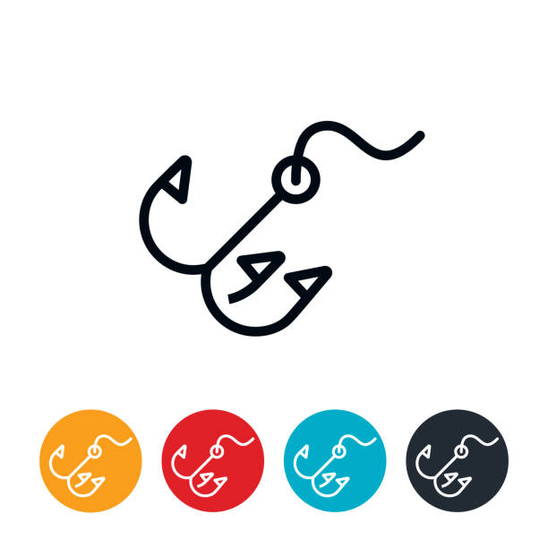 Fishing Hook Icon An icon of a treble hook used in fishing. The icons have editable strokes/lines. fishing line stock illustrations