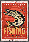 Fishing sport tournament retro poster with vector fish, fisherman equipment and tackle. Pike fish and fisher hook with forest trees on background. Sporting competition, outdoor activity hobby design