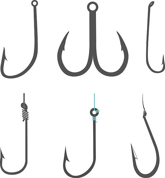 fischen hooks - angelhaken stock-grafiken, -clipart, -cartoons und -symbole