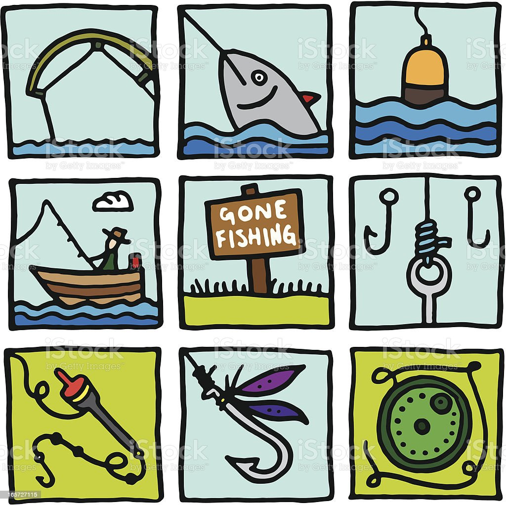 Fishing icon blocks royalty-free stock vector art