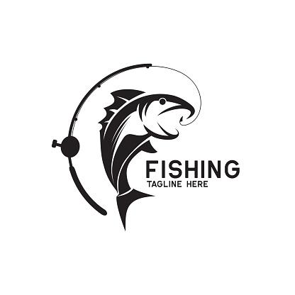 fishing icon isolated on white background, vector illustration