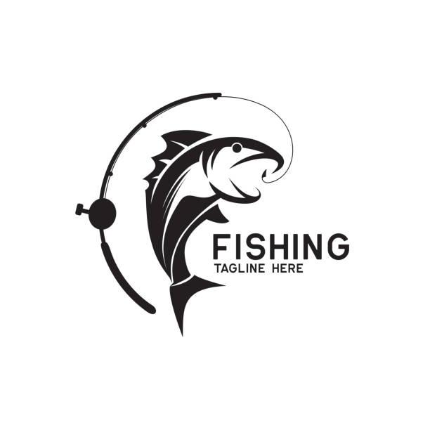 ikona wędkarstwa odizolowana na białym tle, ilustracja wektorowa - rybactwo stock illustrations
