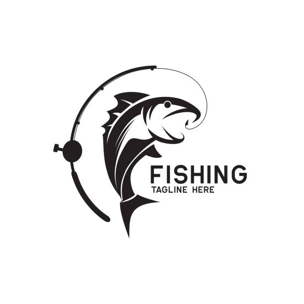 fishing icon isolated on white background, vector illustration fishing icon isolated on white background, vector illustration fishing reel stock illustrations