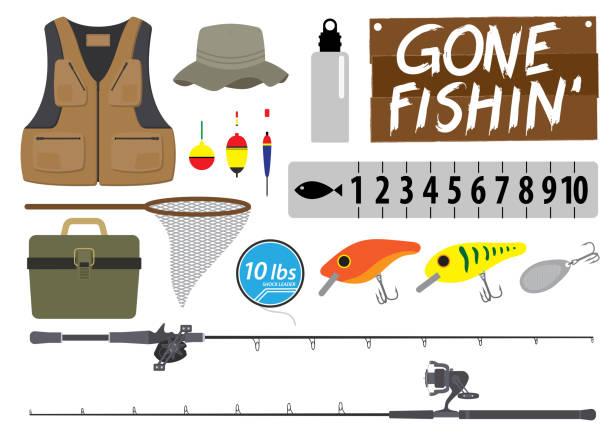 釣りのアイコンを設定します。機器のベクトルのコレクション。ベクトル図 - 漁師点のイラスト素材/クリップアート素材/マンガ素材/アイコン素材