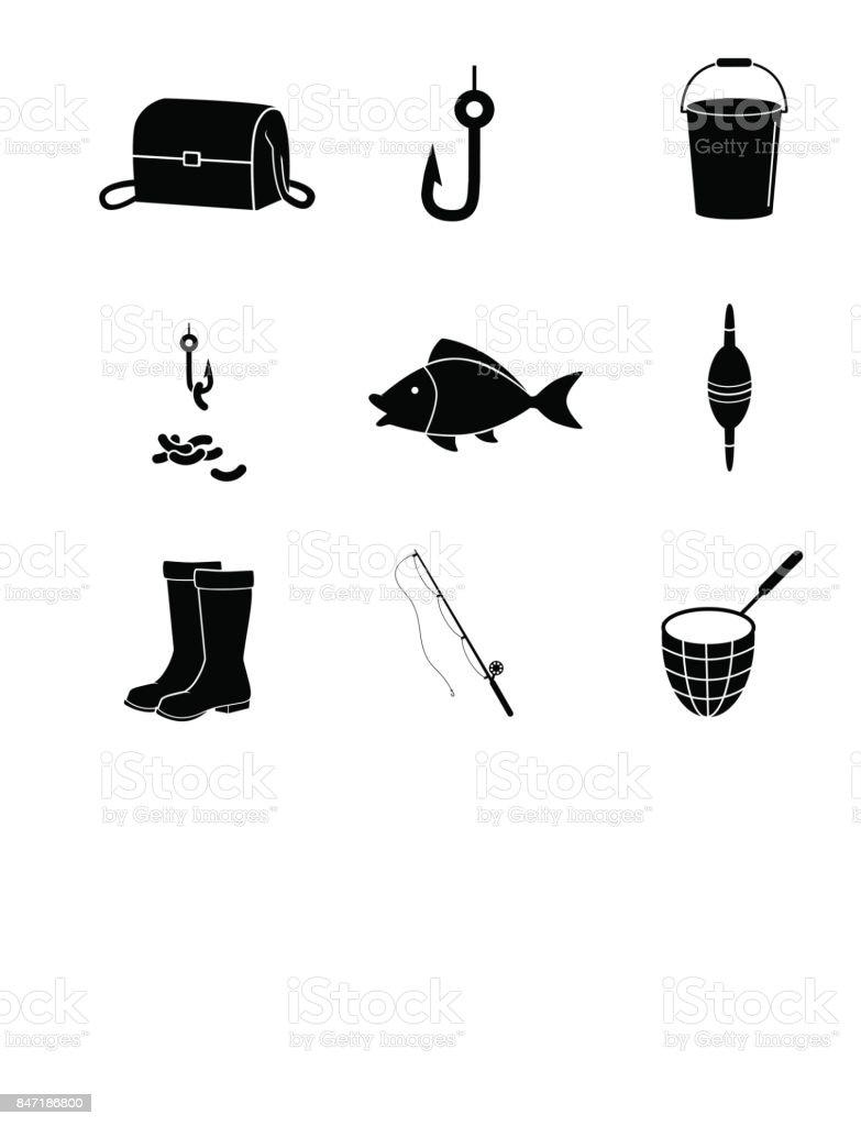 Fishing icon set on white background. Vector art. vector art illustration