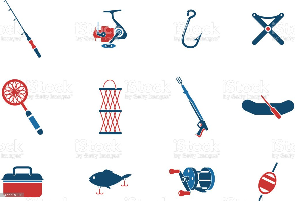 Fishing icon set vector art illustration